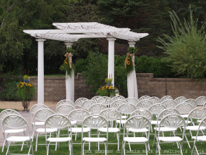 White Pergola on the Grand Promenade at The Gardens of Castle Rock ~ Weddings & Events