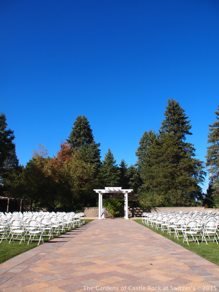 A big beautiful blue sky.... Sunny & Brian at The Gardens of Castle Rock ~ Weddings & Events - Beautiful Outside Fall Wedding