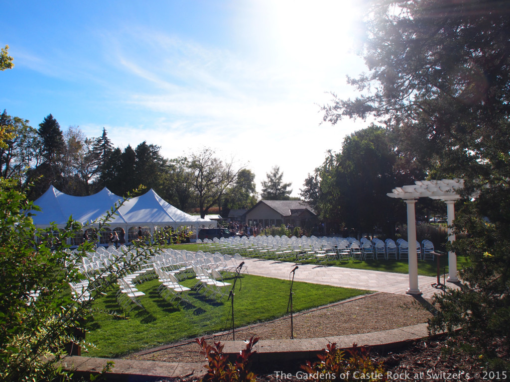The Grand Promenade just before the ceremony... Sunny & Brian at The Gardens of Castle Rock ~ Weddings & Events - Beautiful Outside Fall Wedding