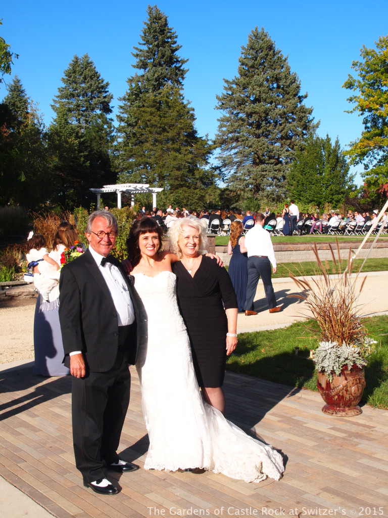 One last photo before heading down the aisle... Sunny & Brian at The Gardens of Castle Rock ~ Weddings & Events - Beautiful Outside Fall Wedding