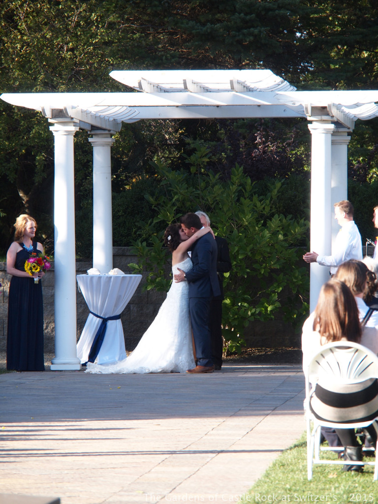 You may kiss your bride.... Sunny & Brian at The Gardens of Castle Rock ~ Weddings & Events - Beautiful Outside Fall Wedding