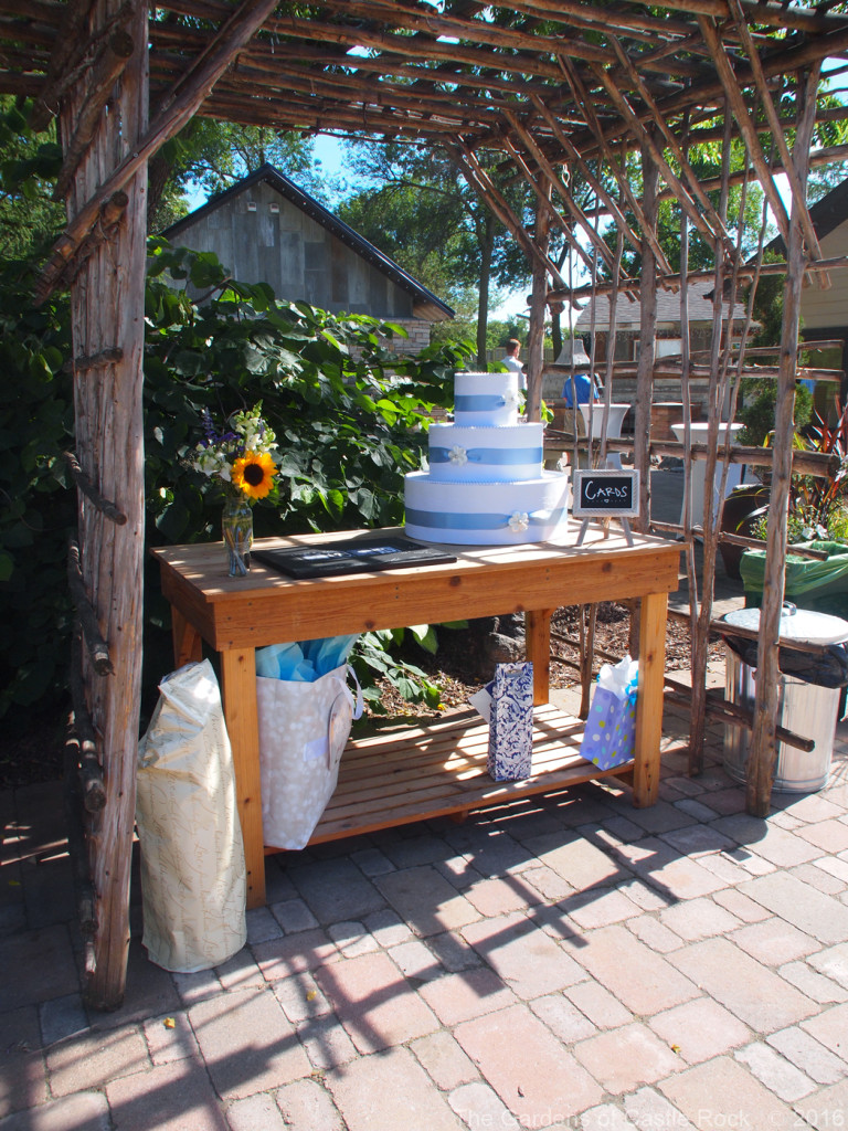 The Mid-Height Garden Table used as the card table. Alyson & Mickey at The Gardens of Castle Rock ~ Minnesota Wedding & Event Center