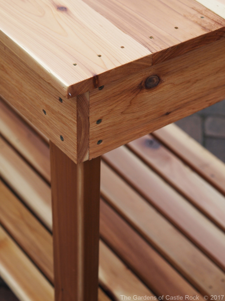 The Gardens of Castle Rock - Corner Detail of the Mid Height Garden Tables - Western Red Cedar