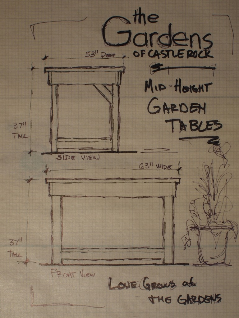 The Gardens of Castle Rock - Sketch with dimensions of the Mid Height Garden Tables ~ Western Red Cedar