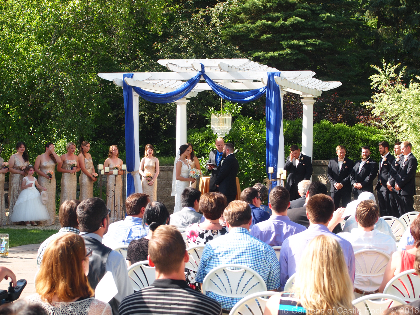 Carri & Sam at The Gardens of Castle Rock ~ Minnesota Garden Wedding - White Pergola on the Grand Promenade