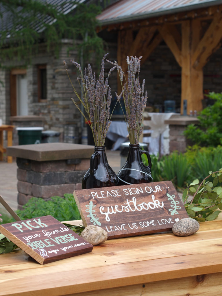 The sweet smell of lavender at the guestbook table at The Gardens.