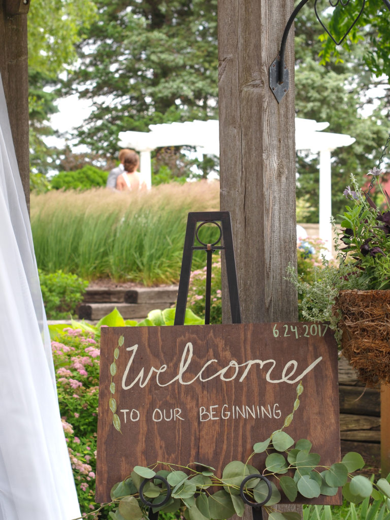 Welcome to our beginning....so glad you're here. Wedding signage at The Gardens.